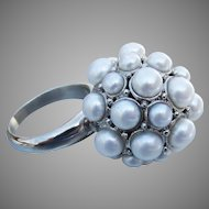 HONORA Large Cultured Freshwater Pearl Cluster Ball Ring, Size 9 MIB