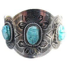 Wide Vintage Turquoise SCARAB Silver Tone Cuff Bracelet