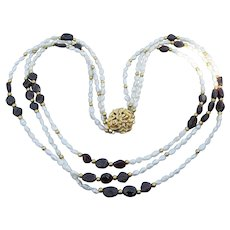 Pretty Triple Strand Rice Cultured Pearl & Garnet Nugget Necklace