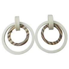 Big 1980's Lucite Double Hoop Pierced Earrings