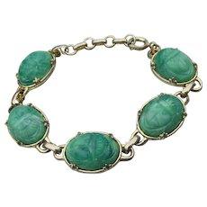 Egyptian Revival Faux Jade Vintage Peking Glass SCARAB Bracelet