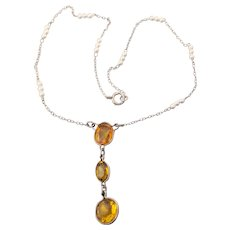 "Pretty 1920's Sterling Silver, Citrine & Faux Pearl Flapper ""Y"" Necklace"