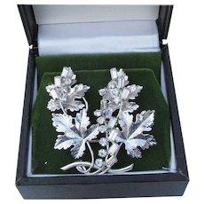 Signed CARL-ART Retro Sterling Silver & Rhinestone GRAPE Bunch Pin Pendant & Earrings