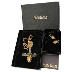 Joan RIVERS Hidden Message EGG Necklace & Earrings, MINT In Box!
