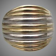 Modern Ribbed Sterling Silver & Gold Vermeil WIDE Band Ring, Size 9