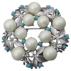 Sarah COVENTRY Vintage Alaskan Summer Faux Pearl & Turquoise Pin