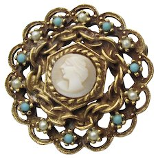 Signed GOLDETTE Vintage Cameo, Faux Pearl & Turquoise Pin