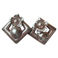 Retro 1940's Vintage Danish Modern Sterling Silver Earrings