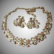1950's Vintage Dark Pink Aurora Borelais Rhinestone Necklace & Earrings Set