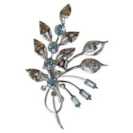 Dainty 1940's Vintage Rhodium Plated Baby Blue Rhinestone Flower Bouquet Pin, Mint In Box