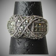 Vintage Sterling Silver & Marcasite Wide Band Ring, Size 7.5