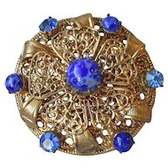 Vintage Czech Glass & Rhinestone Gilt Brass Filigree Pin