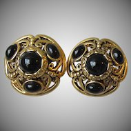 Vintage Black Cabochon Etruscan Revival Clip Earrings, Weinberg New York