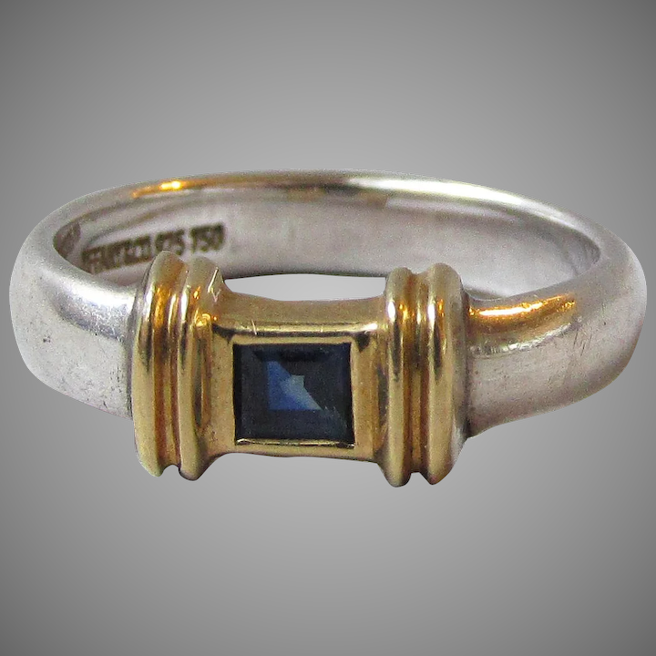 410c5e748 Tiffany & Co Sterling Silver & 18K Gold Blue Sapphire Stacking Band Ring,  ...