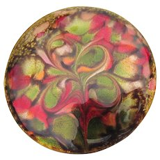 Signed Inga Vintage Abstract Enamel Copper Pin