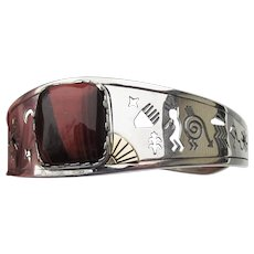 Carolyn Pollack Relios + Roderick Tenorio Vintage Navajo Agate Cuff Bracelet Sterling Silver 14k Gold