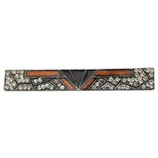 Pierre Bex 1970's Vintage Art Deco Revival Enamel & Rhinestone Pin
