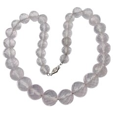 Milky Rock Crystal Pale Rose Quartz 1920's Vintage Necklace, 14k White Gold Clasp
