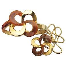 Vintage 1970's Modern Faux Tortoise Shell Lucite & Gold Tone Cuff Bracelet & Necklace