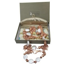 HONORA Freshwater Coin Pearl Multi Chain Bronze Necklace & Bracelet Set, Mint In Box