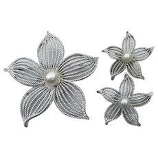 BIG Signed Sarah COVENTRY 1967 Moon Flower Pin & Earrings Set