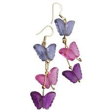 Long Dangle 3 Lucite Butterfly Earrings