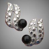 Signed CELEBRITY N.Y. Silver Tone Black Bead Mod Clip Earrings