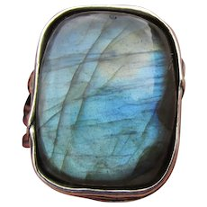Or Paz PZ Israel Sterling Silver Large Labradorite Statement Ring, Size 9
