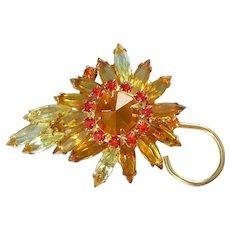 JULIANA Topaz, Yellow & Orange Inverted Rhinestone Flower Pin