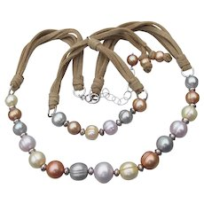 HONORA Signed Freshwater Cultured Pearl, Sterling Silver Suede Necklace & Bracelet Set, MINT In Box