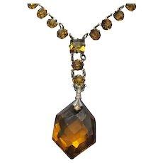 """Art Deco Czech Golden Topaz Crystal Open Back """"Y"""" Rhinestone Necklace"""