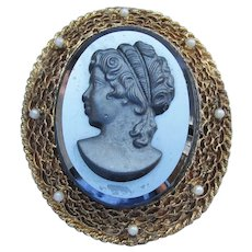 Large Vintage Filigree & Hematite Glass CAMEO Pin