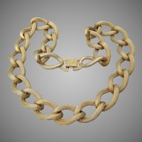 Early 1950's Signed CORO Huge Gold Tone Chain Necklace