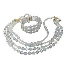 Sparkling 4 Strand Vintage 1950's AB Crystal Necklace & Bracelet Set