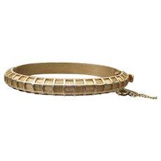 Crown TRIFARI 1960's Gold Tone Waffle Bangle Bracelet