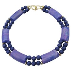 Signed TRIFARI 1980's Chunky Purple Bead Collar Necklace