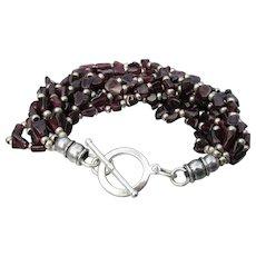 Wide 10 Strand Garnet Bead Sterling Silver Toggle Bracelet