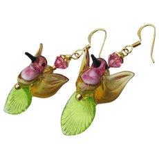 Green & Pink HUMMINGBIRDS Hand-Made Lampwork Glass & Crystal, Vermeil Dangle Artisan Earrings