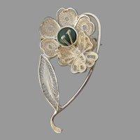 Bloodstone Cabochon Sterling Silver Cannetille Filigree Flower & Butterfly Pin