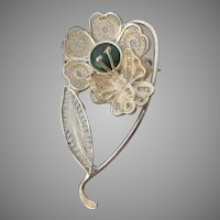 Bloodstone Cabochon Sterling Silver Cannetille Filigree Flower & Butterfly Pin