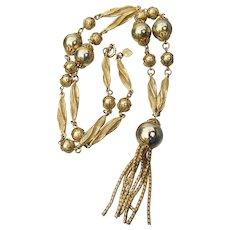 Signed JUDY LEE Vintage Gold Tone Beaded Tassel Necklace