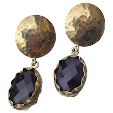 Hammered Gold Sterling Silver Amethyst 1980's Dangle Earrings