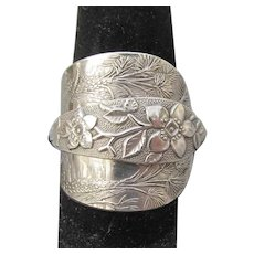 Hand Made Florida Souvenir Sterling Silver Spoon RING, Palms & Orange Blossoms, Size 8