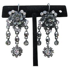 Signed J Z Pewter & Rhinestone Chandelier Lever Back Earrings