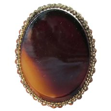 1920's Large Oval TIGER EYE Gold Filled Pin