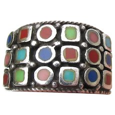 Wide Inlaid Turquoise, Coral, Lapis Sterling Silver Band Ring, Size 6