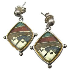 Carolyn Pollack RELIOS Dangle Turquoise, Lapis & Coral Earrings