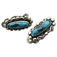 Petite Native American Sterling Silver & Turquoise Clip Earrings