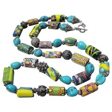 Artisan Antique African Trade Bead, Sterling Silver & Turquoise Necklace