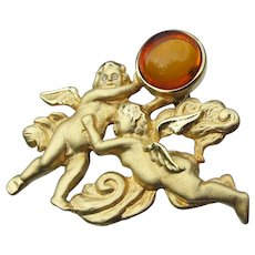 Signed LS Louis Stern Amber Glass ANGEL Cherubs Pin